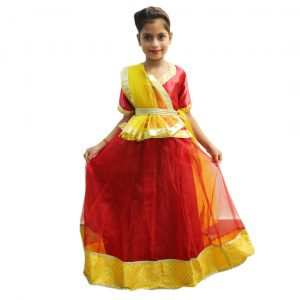 Radha Costume for Baby Girl – Maroon & Yellow Lehanga