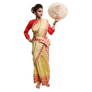 Bihu Dance Dress For Girl – Beige and Red Saree