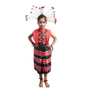 Folk Dance Costume For Girl – Red and black Skirt