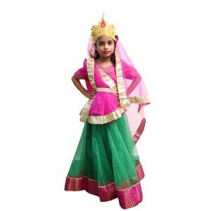Radha Janmashtami Fancy Dress Costume Neon Green & Pink