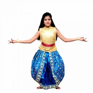 Fusion Dance Golden & Blue Top Dhoti – Indian Classical Dance Costume