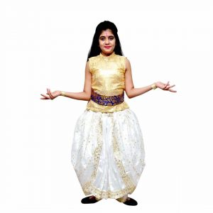 Fusion Golden & White Top Dhoti – Indian Classical Dance Costume