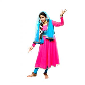 Kathak Costume Neon Pink & Firozi Anarkali Dress