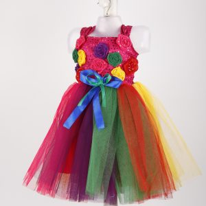 Western Dance Rainbow Frock For Girl – Multicolor Frock