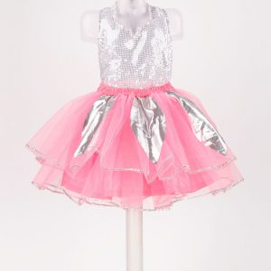Western Dance Flower Girl Baby Pink & Silver Skirt Top Kids Fancy Dress Costume