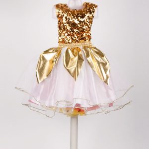 Western Dance Disco Girl Gold and White Skirt Top Kids Fancy Dress Costume