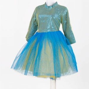 Western Dance Girl Turquoise & Yellow Frock Kids Fancy Dress Costume