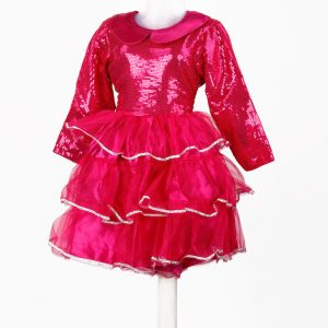 Western Dance Girl Magenta and Silver Frock Kids Fancy Dress Costume