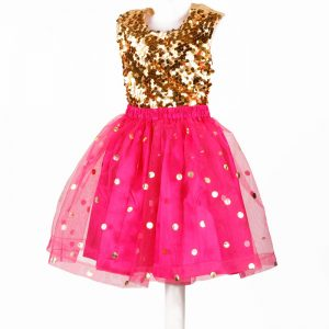 Western Dance Girl Gold & Magenta Skirt and Top Kids Fancy Dress Costume
