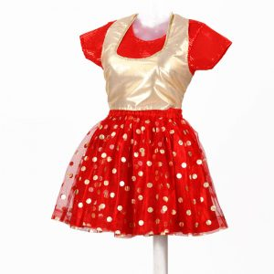 Gold & Red Polka Skirt With Top For Girl