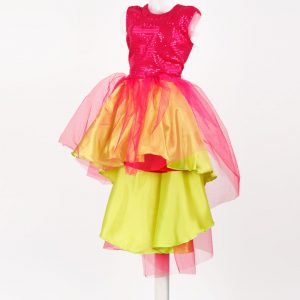 Western Dance Europian Girl Neon Green and Magenta Single Piece Kids Fancy Dress Costume