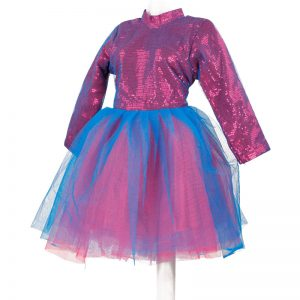 Western Dance Girl Blue Frock Kids Fancy Dress Costume