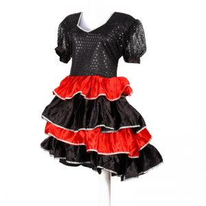 International Spanish Dance Dress For Girl – Black and Red Frock