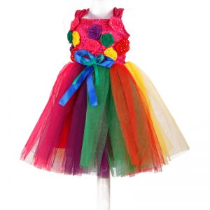 Western Dance Rainbow Girl Multicolor Frock Kids Fancy Dress Costume