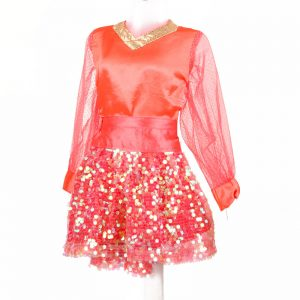 Western Dance Girl Orange Shimmer Top & Skirt Kids Fancy Dress Costume