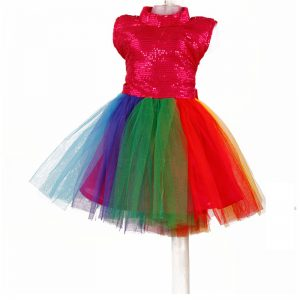 Western Dance Girl Multicolor Frock Kids Fancy Dress Costume