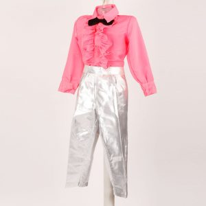 Western Dance Boy Silver & Pink Pant Frill Shirt Kids Fancy Dress Costume