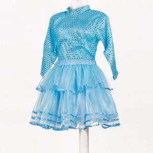 Western Dance Girl Sky Blue Skirt Top Kids Fancy Dress Costume