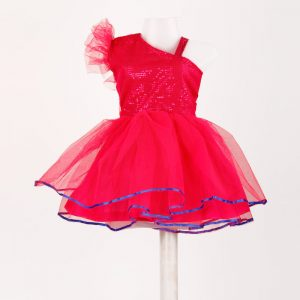 Western Dance Rose Red Frock Kids Fancy Dress Costume For Girls