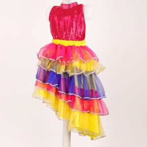 Brazil Dance Costume For Girl – Magenta and Yellow Top Skirt