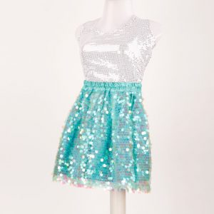 Western Dance Girl Silver and Aqua Blue Skirt Top Kids Fancy Dress Costume