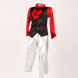Western Dance Boy Silver Pant And Red Shirt With Black Waist Coat & Bow Kids Fancy Dress Costume