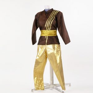 Western Dance Boy Golden and Brown Pant Jacket Kids Fancy Dress Costume