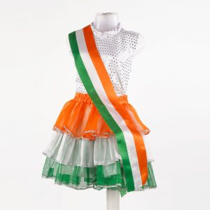Western Dance Girl White and Tricolor Top Skirt Kids Fancy Dress Costume