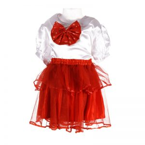 Western Dance Girl Red and White Top Skirt Kids Fancy Dress Costume