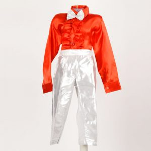 Costume For Ballroom Dance – Boy Silver Frill Shirt Red Pant & Bow Set Kids