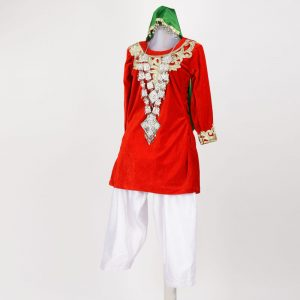 Indian State Folk Dance Kashmiri Girl Red and White Suit-Firon Salwar with Head Scarf Kids Fancy Dress Costume