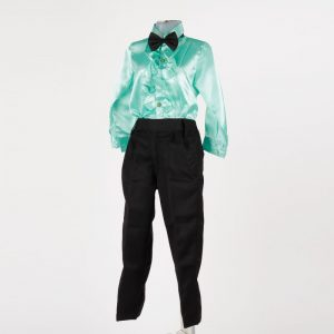 Costume Of Ballroom Dance – Aqua Green Shirt Black Pant & Bow-Tie