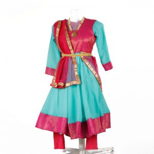 kathak dance dress – Firozi & Magenta Anarkali Chooridaar