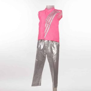 Contemporary & Indo-Western Dance Boy Silver and Pink Pant and Jacket Kids Fancy Dress Costume