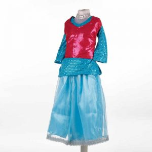 Contemporary & Indo Western Fusion Dance Girl Red & Firozi Plazzo and Backknot Jacket Kids Fancy Dress Costume