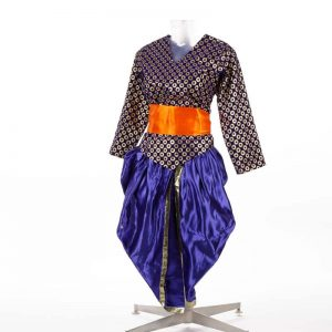 Indo-Western Costume – Unisex Blue & Orange Shirt and Dhoti