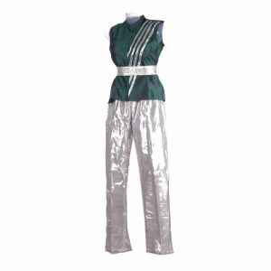 Contemporary & Indo Western Dance Boy Silver and Green Jacket Pant with Belt Kids Fancy Dress Costumes