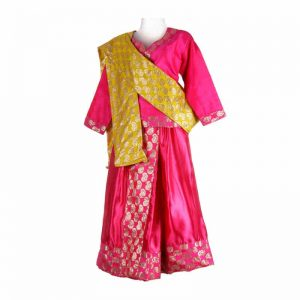 Thailand Dress For Girl – Magenta & Yellow Top Skirt-3 Pleated With Stole