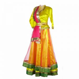 Indian Classical Kathak Dance Dress For Girl – Pink & Yellow