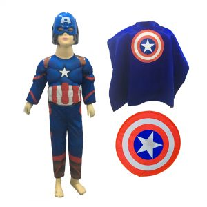 Captain America Dress – 3D Effect Body Suit (Costume, Shield, Cape)