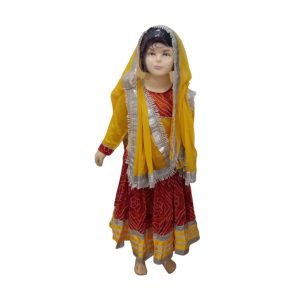 Rajasthani Girl with Jewellery Indian State Fancy Dress Costume For Kids&Adults