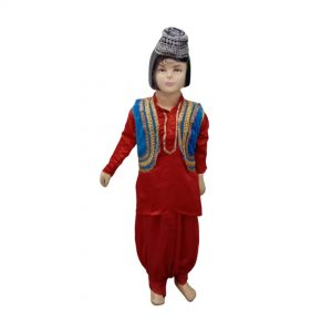 Kashmiri Boy Indian States Red Pathani Dress For Kids & Adults Fancy Dress Costume