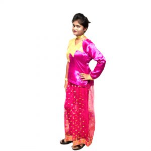 Magenta Indo Western Fusion Dance Dress for Girls