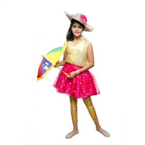 Magenta and Golden Top Skirt Kids Fancy Dress Costume