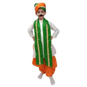 Fancy Dress For Independence Day – Tricolour Dhoti Kurta Stole Pagdi