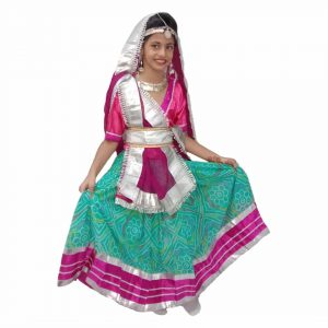 Fancy Dress Radha Getup – Aqua Green & Magenta Lehanga