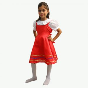 Russian Dress For Girl – Red and White Tunic Frock