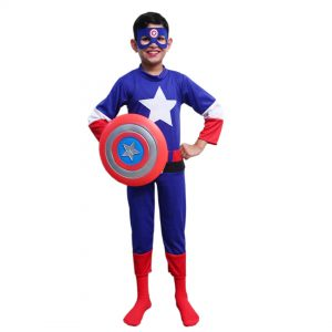 Captain America Costume Superhero Set of 3 (Dress, Shield, Mask)