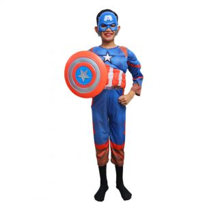Captain America Muscle Costume For Kids – Set of 3(Costume,Shield,Mask)