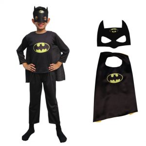 Batman Dress For Kids Superhero Costume – Set of 3 (Costume,Headgear,Cape)